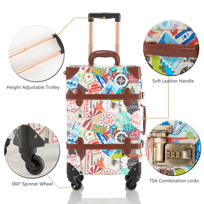 Sarah Face 2 Pieces Luggage Set - Stamp's