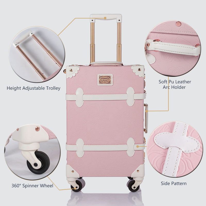 WildFloral 2 Pieces Luggage Set - Embossed Pink's - Hat Box - TSA - COTRUNKAGE