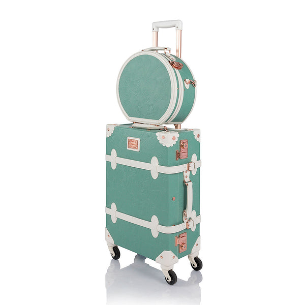 WildFloral 2 Pieces Luggage Set - Embossed Mint's - Hat Box - TSA - COTRUNKAGE