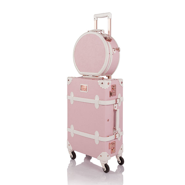 WildFloral 2 Pieces Luggage Set - Embossed Pink's