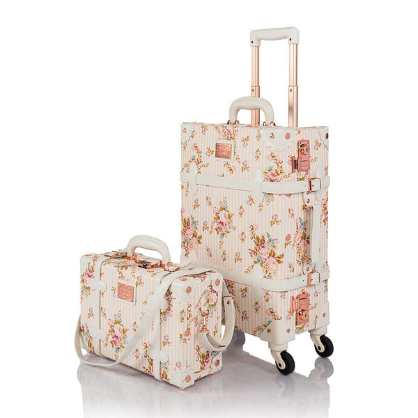 WildFloral 2 Pieces Luggage Sets - Beige Floral's - TSA - COTRUNKAGE