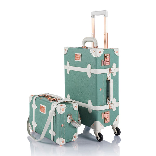 WildFloral 2 Pieces Luggage Set - Embossed Mint's - TSA - COTRUNKAGE