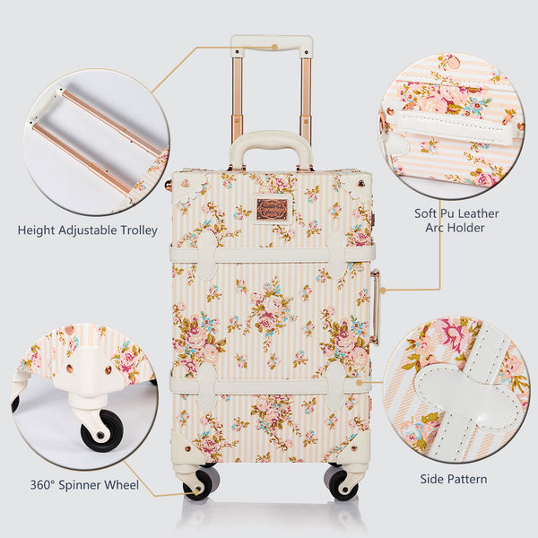 WildFloral 2 Pieces Luggage Sets - Beige Floral's - TSA