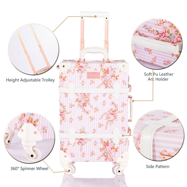 SarahFace 2 Pieces Luggage Sets - Pink Floral's - Combination Locks - COTRUNKAGE