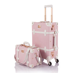WildFloral 2 Pieces Luggage Sets - Embossed Pink's - TSA - COTRUNKAGE