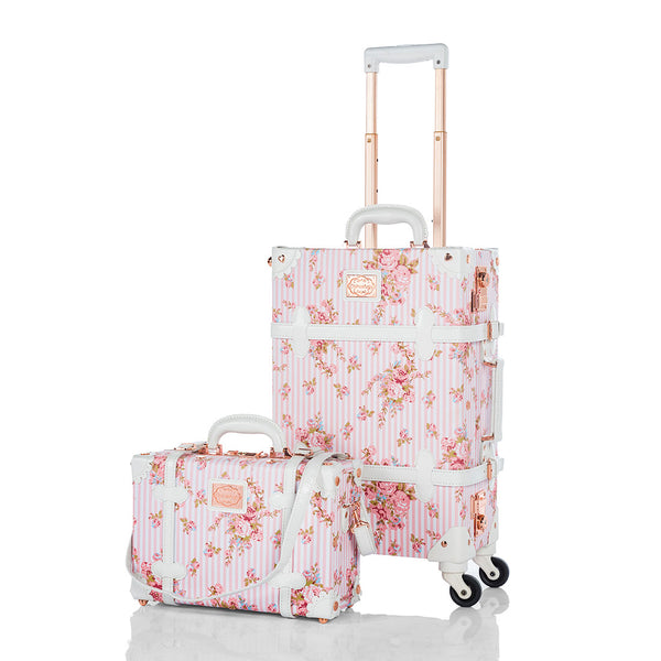 WildFloral 2 Pieces Luggage Sets - Pink Floral's - TSA