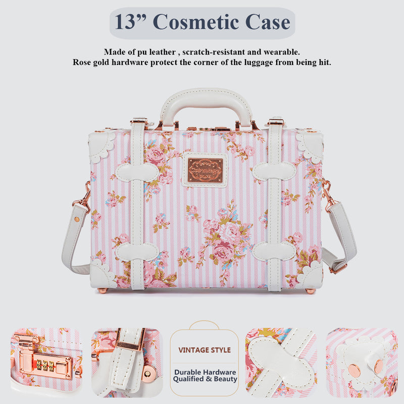 WildFloral 2 Pieces Luggage Sets - Pink Floral's - TSA - COTRUNKAGE