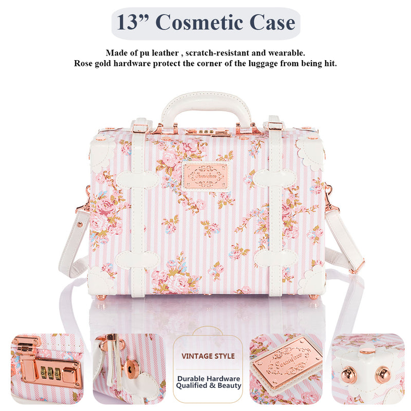 SarahFace 2 Pieces Luggage Sets - Pink Floral's - Combination Locks