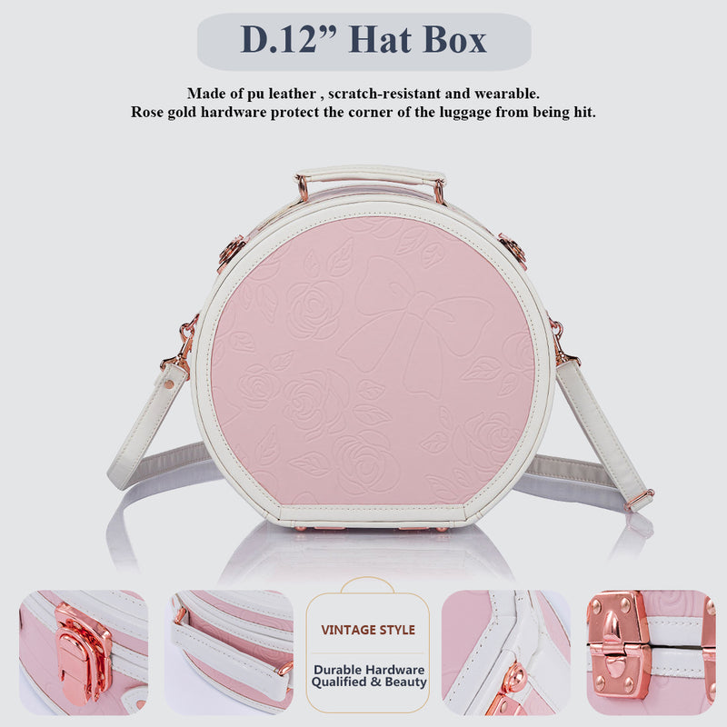 WildFloral Hat Box - Embossed Pink's - COTRUNKAGE