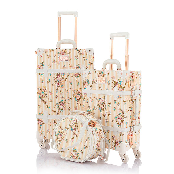 SarahFace 3 Pieces Luggage Sets - Beige Floral's - Hat Box - COTRUNKAGE