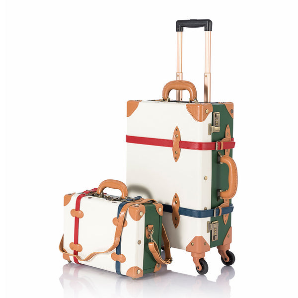 SarahFace 2 Pieces Luggage Sets - White/Forest Green - COTRUNKAGE