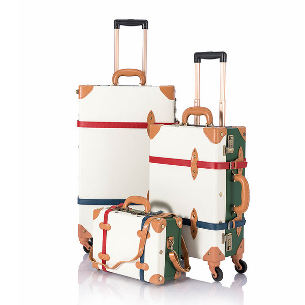 SarahFace 3 Pieces Luggage Sets - White/Forest Green's