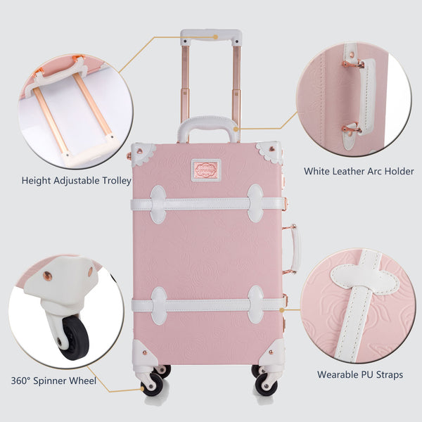 WildFloral Luggage Sets - Embossed Pink's