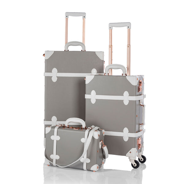 Classic 3 Pieces Luggage Sets - Light Grey's - TSA - COTRUNKAGE