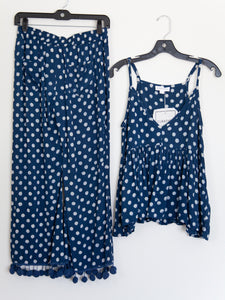 Pom Pom Lounge Set Indigo Dots