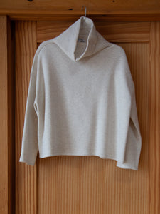 Funnel Neck Top Ivory Heather