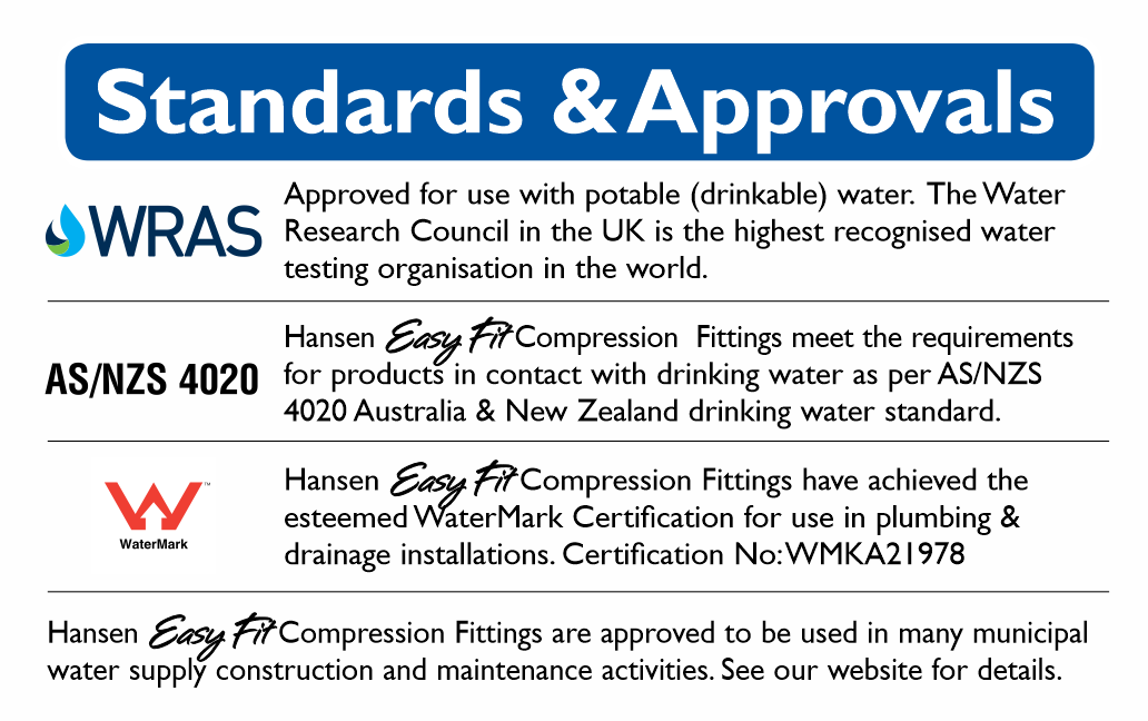 Approvals and standards hansen compression fittings