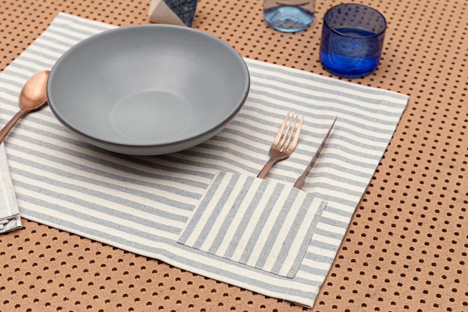 Placemats / Striped with Pocket: Set of 4