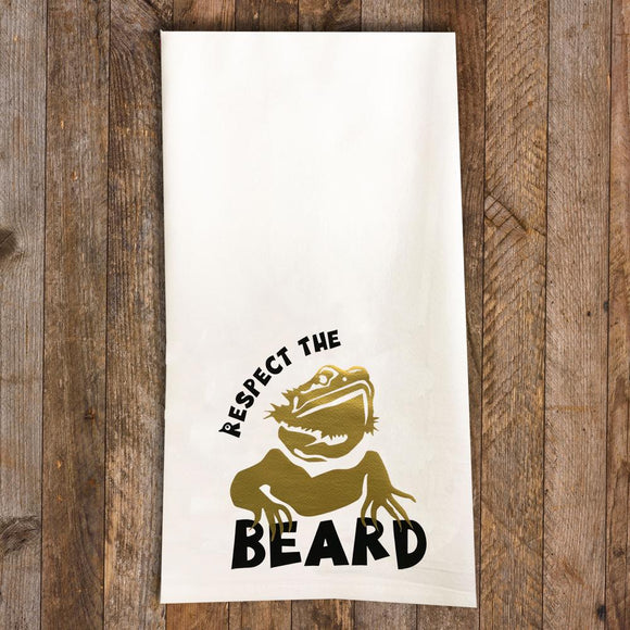 Respect the Beard / Bearded Dragon Tea Towel / Bearded Dragon Themed Flour Sack Cotton Kitchen Towel - Mydeye