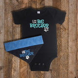 Baby & Dog - Sister / Brother Onsie Bandana Set