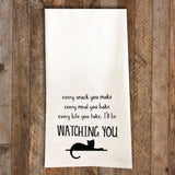 I'll be Watching You Cat Tea Towel / Cat Themed Flour Sack Cotton Towel