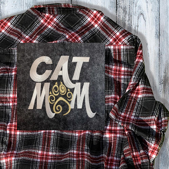 Cat Mom Embroidered Flannel Shirt