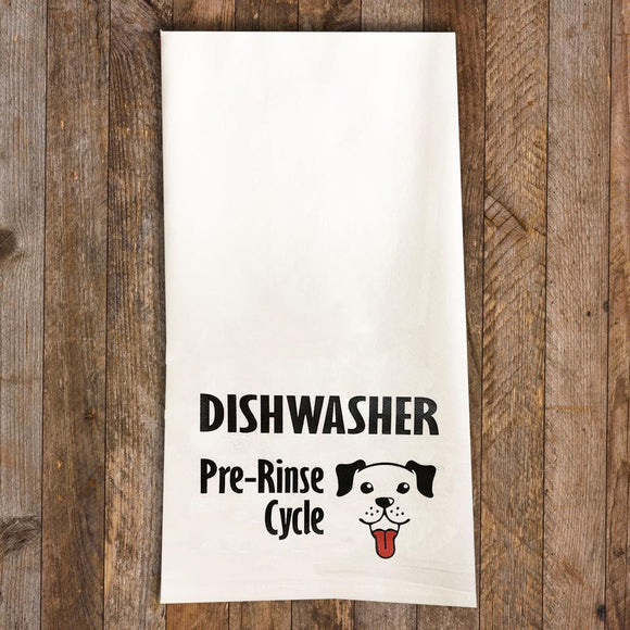 Dishwasher Pre-Rinse Tea Towel / Dog Themed Flour Sack Cotton Towel