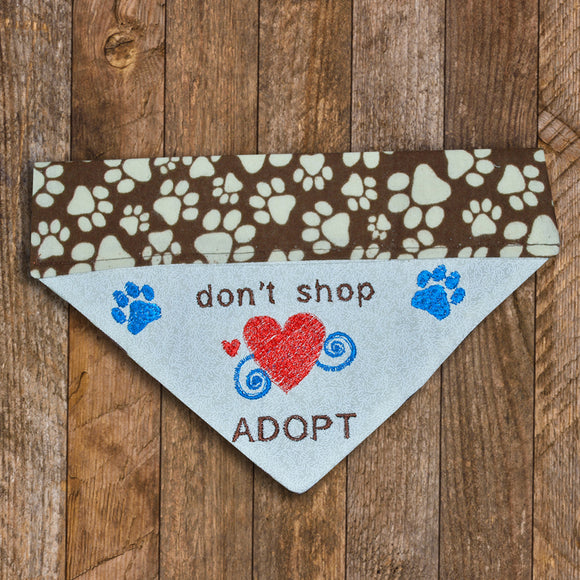 Don't Shop - Adopt / Over the Collar Dog Bandana