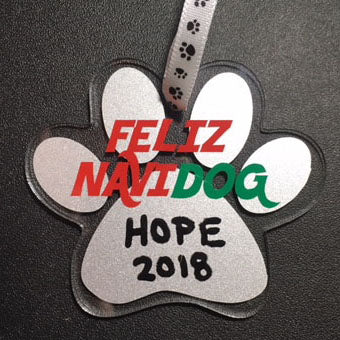 Personalized Feliz NaviDOG Dog Paw Ornament / Dog Christmas Ornament