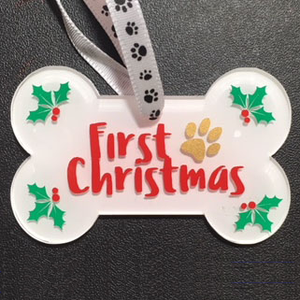Personalized First Christmas Dog Bone Ornament / Dog Christmas Ornament