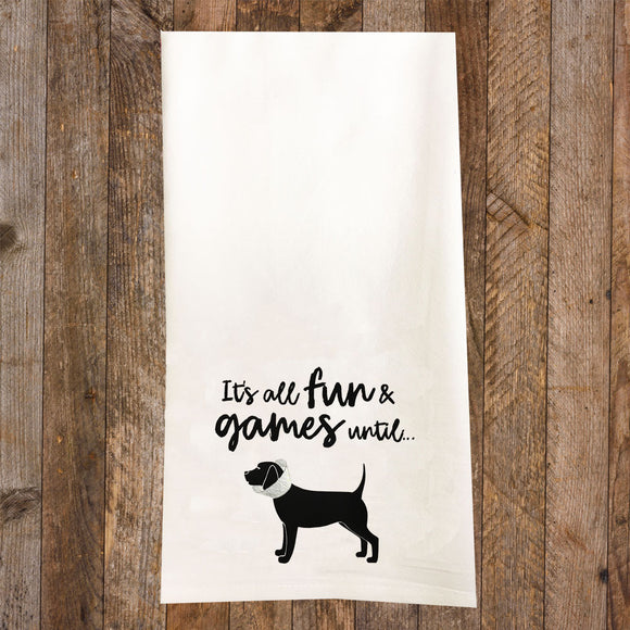 Fun and Games Dog in a Cone Tea Towel / Dog Themed Flour Sack Cotton Towel