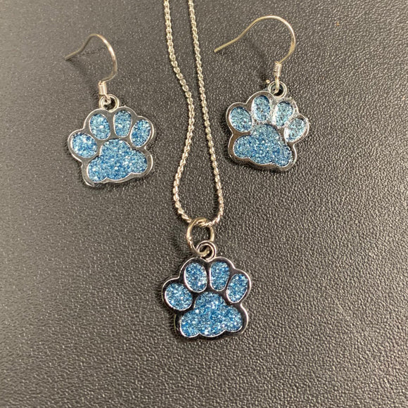 Paw Print Charm Earring and Necklace Set