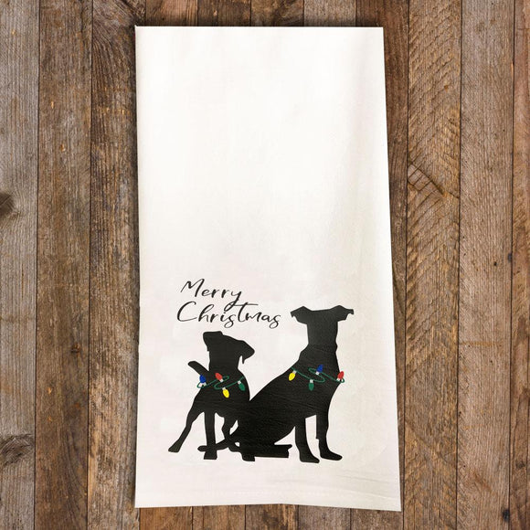 Merry Christmas Tea Towel / Dog Themed Flour Sack Cotton Towel