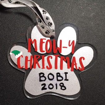 Personalized Meow-y Christmas Cat Paw Ornament / Cat Christmas Ornament
