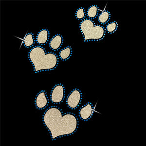 Glitter and Rhinestone Paw Prints V-Neck T-Shirt