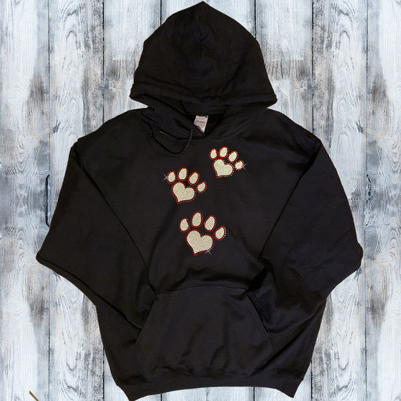 Glitter and Rhinestone Paw Prints Pullover Hoodie