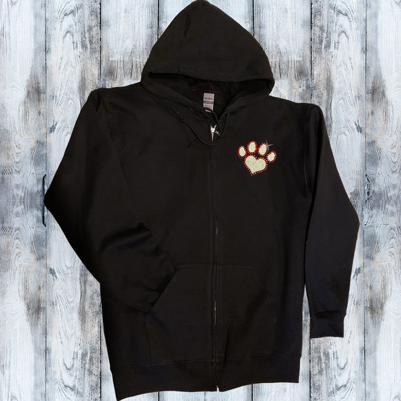 Glitter and Rhinestone Paw Prints Full Zip Sweatshirt
