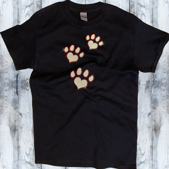 Glitter and Rhinestone Paw Prints Shirt