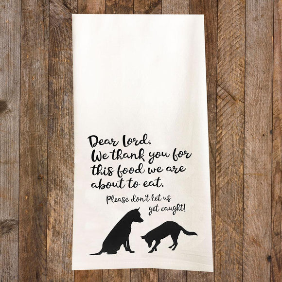 Dogs Saying Grace Tea Towel / Dog Themed Flour Sack Cotton Towel