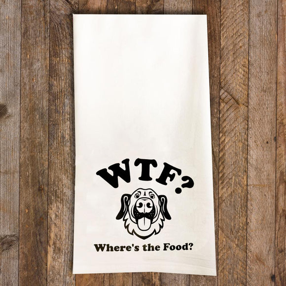 WTF Tea Towel / Dog Themed Flour Sack Cotton Towel