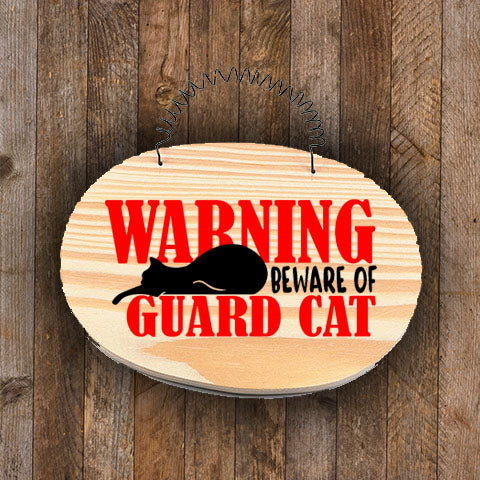 Mini Wood Sign - Warning! Beware of Guard Cat