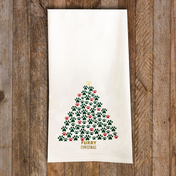 Paw Tree Tea Towel / Dog Themed Flour Sack Cotton Towel