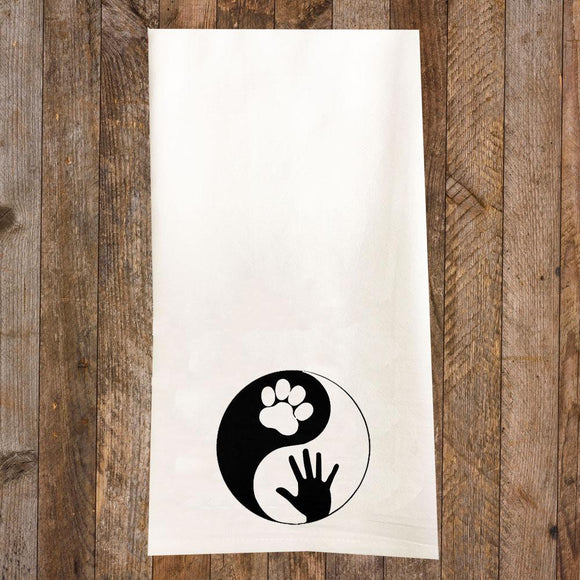 Dog Yin Yang Tea Towel / Dog Themed Flour Sack Cotton Towel