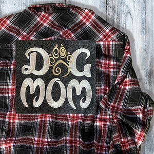 Dog Mom Embroidered Flannel Shirt - Mydeye
