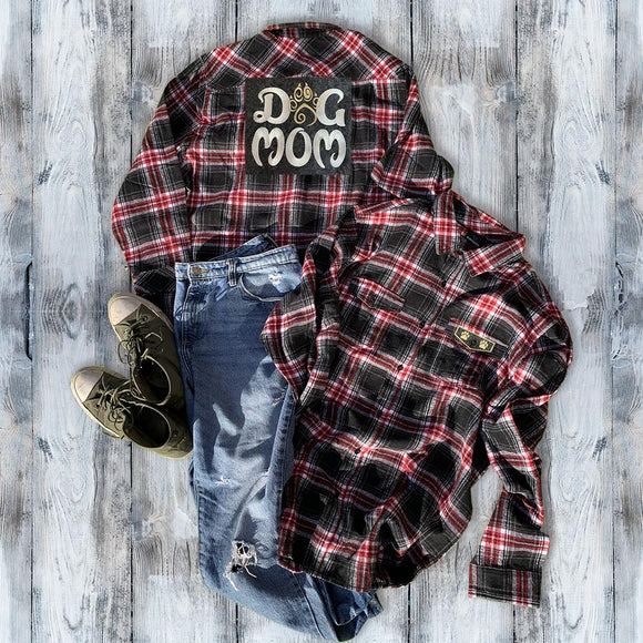 Dog Mom Embroidered Flannel Shirt