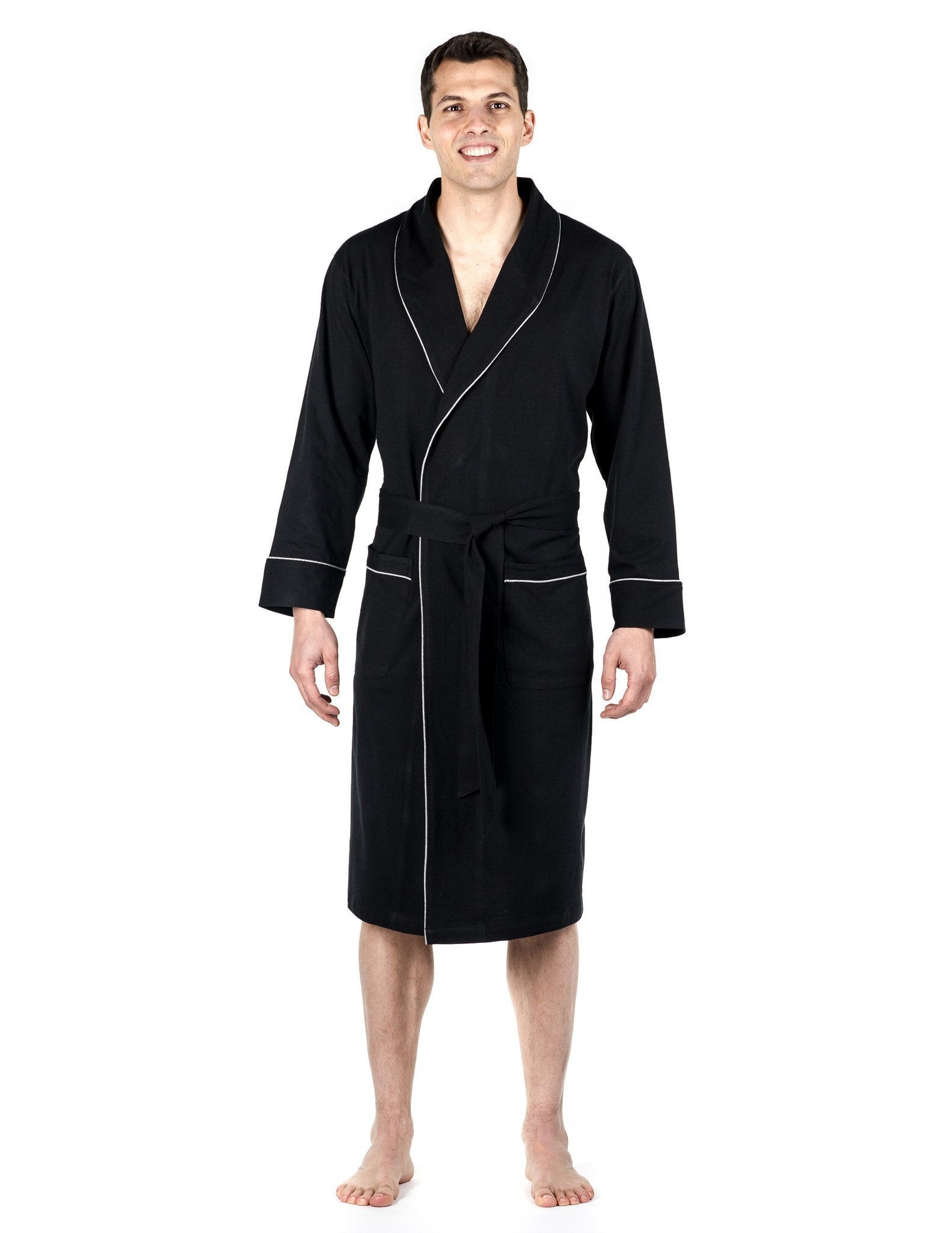 Men's Premium Knit Jersey Robe - Black