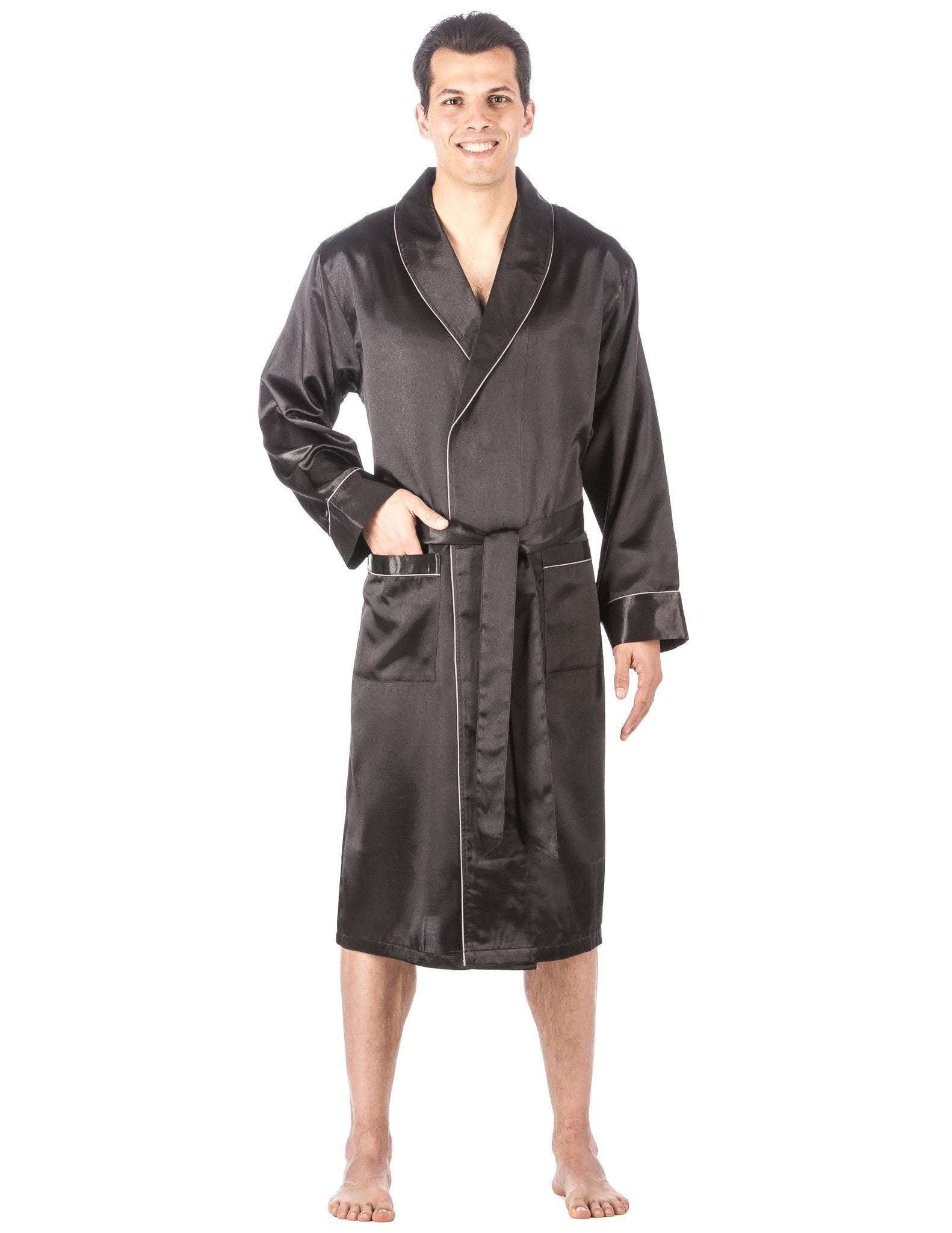 Men's Premium Satin Robe - Solid Black
