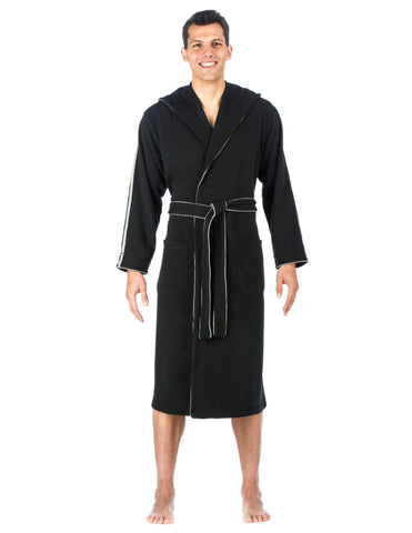 Men's Fleece Lined Hooded Robe - Black