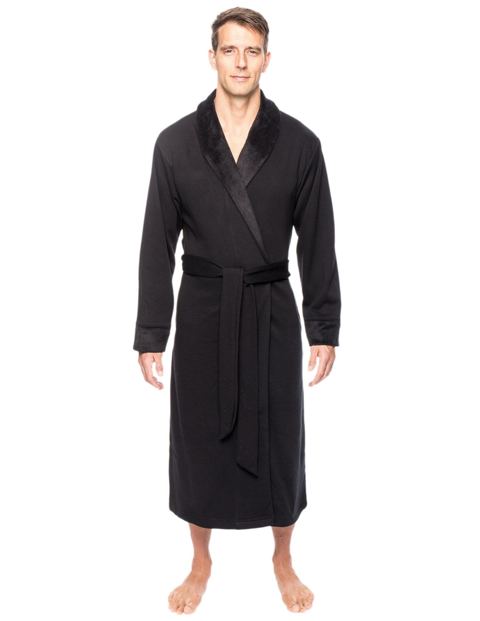 Men's Super Soft Brushed Robe - Black