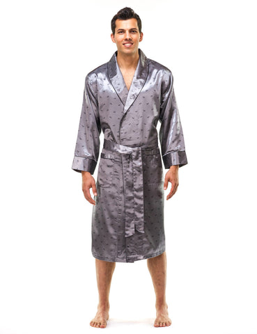 Men s Premium Satin Robe - Boats Charcoal 5e83346d6